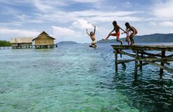 Glückliche Papua-Kinder, die zum Meer springen stockfotografie