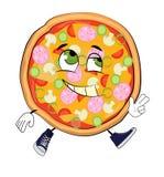Glückliche Pizzakarikatur Stockfotos