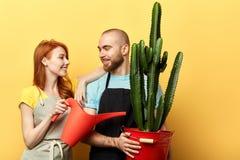 Glückliche positive Floristen mit der Gießkanne, die zur Kamera aufwirft stockbild