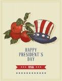Glückliche Präsidententagvektorpostkarte skizze Stockbild