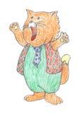 Glückliche Redheadkatzezeichnung stock abbildung