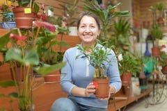 Glückliche reife Frau im Blumenspeicher Lizenzfreie Stockfotos