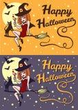 Glückliche Retro- Karte Halloween-Hexe und -katze Stockfoto