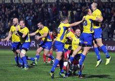 Glückliche Rugbyspieler feiern Sieg lizenzfreies stockbild