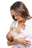 Glückliche süße Mutter, die ihr Kind stillt Lizenzfreies Stockfoto