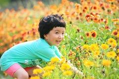Glückliche Sammelnblume des kleinen Mädchens Lizenzfreie Stockfotos