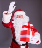 Glückliche Santa Claus mit giftboxes Stockfotografie