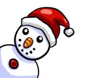 Glückliche Santa Hat Snowman 1 stock abbildung