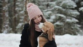 Glückliche schöne junge Frau im rosa Hut, der einen ihren Spürhundhund an einem Wintertag streichelt Freundschaft, Haustier und M stock video footage