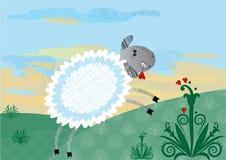 Glückliche Schafe der Karikatur Lizenzfreie Abbildung