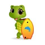 Glückliche Schildkrötenkarikatur Stockfotografie