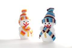 Glückliche Schneemänner Stockfotos
