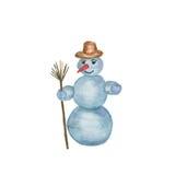 Glückliche Schneemannstellung Stockfotos