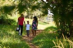 Glückliche schwarze Familie, die in Stadt-Park mit Picknick-Korb geht stockbild