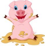 Glückliche Schweinkarikatur, die im Schlamm spielt Lizenzfreie Stockfotos