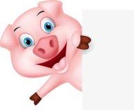 Glückliche Schweinkarikatur mit Zeichen Stockbild