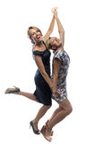 Glückliche Schwestern auf weißem Hintergrund Lizenzfreies Stockfoto