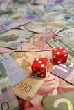 Glückliche sieben auf kanadischen Dollarscheinen Stockfotos