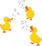 Glückliche singende Ente Stockbilder