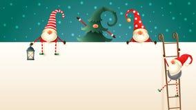 Glückliche skandinavische Weihnachtsgnomen klettern oben die Anschlagtafel unter Verwendung der Leitern lizenzfreie abbildung