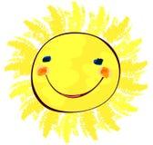 Glückliche Sonne auf weißer, kindlicher Malerei Stockfoto