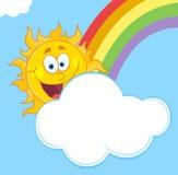 Glückliche Sonne mit einer Wolke und einem Regenbogen in einem blauen Himmel Lizenzfreies Stockfoto
