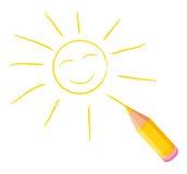 Glückliche Sonne von Hand gezeichnet. Stockfotos