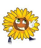 Glückliche Sonnenblumenkarikatur Lizenzfreies Stockfoto