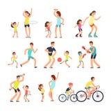 Glückliche Sportfamilie Mutter, Vati mit den Kindern, die Sport tun, übt im Freien aus Eltern und Kinder im Eignungstätigkeitsvek Lizenzfreie Abbildung