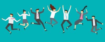 Glückliche springende Geschäftsleute Die aufgeregten Büroteamarbeitskräfte, die an der Angestelltpartei, lächelnde Fachleute spri stock abbildung