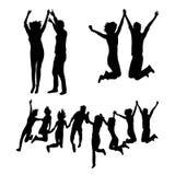 Glückliche springende Zusammengehörigkeits-Schattenbilder stock abbildung