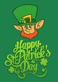Glückliche St- Patrick` s Tagesbriefgestaltungs-Vektorillustration mit Kobold Lizenzfreies Stockbild