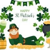 Glückliche St- Patrick` s Tagesfahne Kobold, der auf einem Stapel von Goldmünzen liegt vektor abbildung