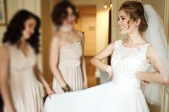 Glückliche stilvolle herrliche blonde Braut mit Brautjungfern auf dem BAC Stockbilder