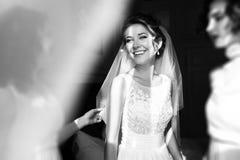Glückliche stilvolle herrliche blonde Braut mit Brautjungfern auf dem BAC Stockfotos