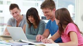 Glückliche Studenten, die zusammen mit einem Laptop arbeiten stock footage