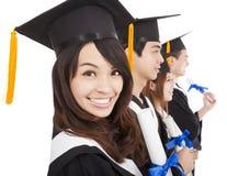 Glückliche Studenten im Aufbaustudium Stockfotografie