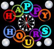 Glückliche Stunden Anschlagtafel in den Regenbogenfarben Lizenzfreie Stockfotografie