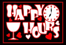 Glückliche Stunden Aufschrift in der roten Farbe mit Ziffernblatt, Weinglas und Herzen auf dem schwarzen Hintergrund, Anzeige für Lizenzfreie Stockbilder