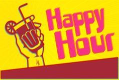 Glückliche Stunden-Cocktailparty-Flieger-Schablone mit Glas in der Hand Lizenzfreies Stockbild