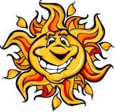 Glückliche Sun-Karikatur mit einem großen Lächeln Stockbilder