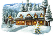 Glückliche Szene des Weihnachtswinters mit Holzhaus in den Bergen Stockfoto