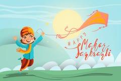 Glückliche Tageskarte Makar Sankranti, Hintergrund Indischer Junge der netten Karikatur, der mit Drachen spielt Lizenzfreies Stockfoto