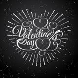 Glückliche Tagesvektor-Weinleseillustration des Valentinsgruß-s Zeichen mit Sonnenstrahlen und -pfeil Stempel beschriften mit Son Stockfotografie