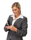 Glückliche texting Frau Lizenzfreies Stockbild
