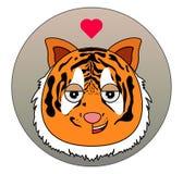 Glückliche Tigerikone mit Liebesgefühlen Tierikone vektor abbildung