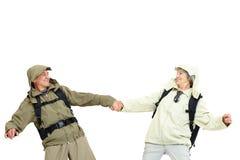 Glückliche Touristen Lizenzfreie Stockfotografie