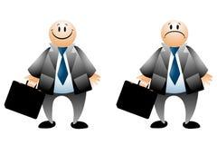Glückliche traurige Geschäftsmann-Karikaturen Stockfoto