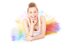Glückliche und bunte Ballerina Lizenzfreie Stockbilder