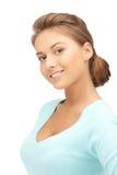 Glückliche und lächelnde Frau Lizenzfreies Stockfoto